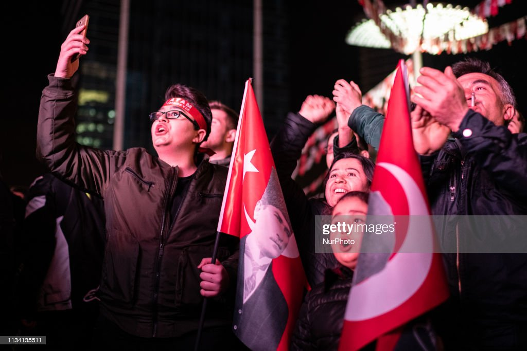 Crowd Watches Election Results In Ankara : News Photo