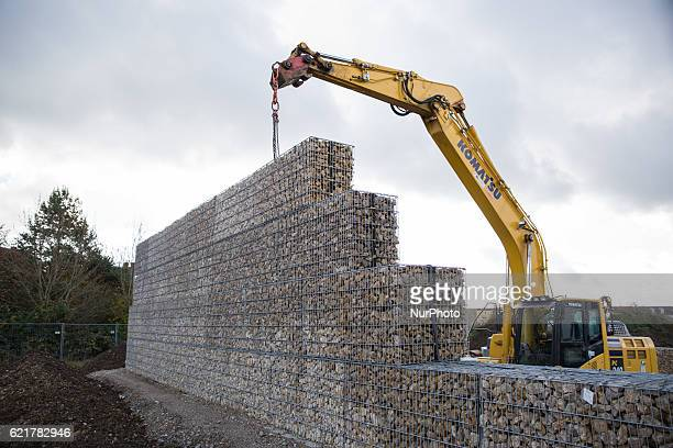 On 8th November 2016 the city of Munich Germany is building a 4 meter tall wall around a refugee shelter in quotNeuperlachquot where about 160...