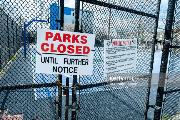 On a beautiful Easter Sunday there are no people playing basketball The entrance for the basketball court at Dr Lena Edwards Park is blocked with a...