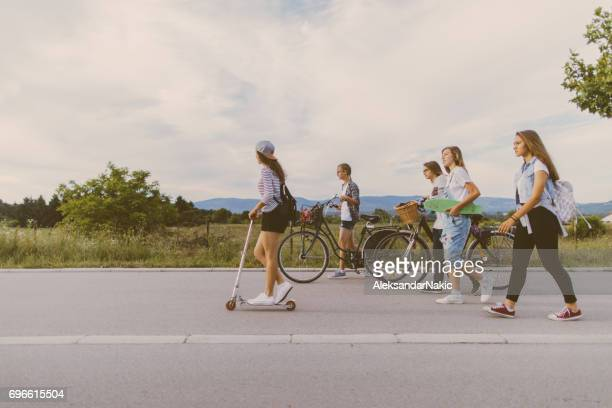 On a bicycle lane