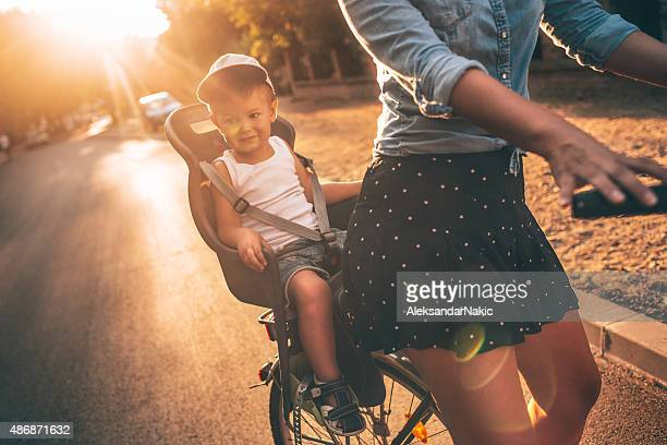 On a bicycle with my mom
