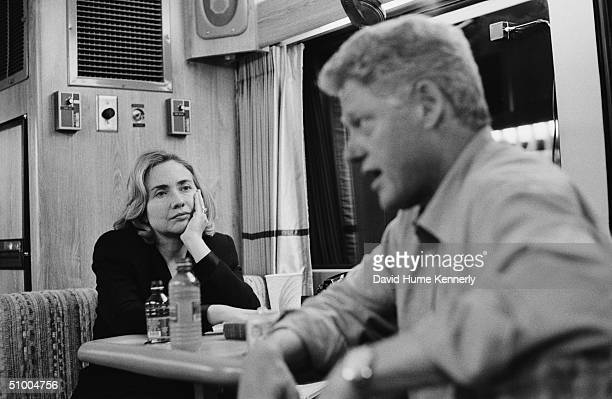 On a campaign bus on their way from Portland to Seattle American President Bill Clinton speaks with Washington state gubernatorial candidate Gary...