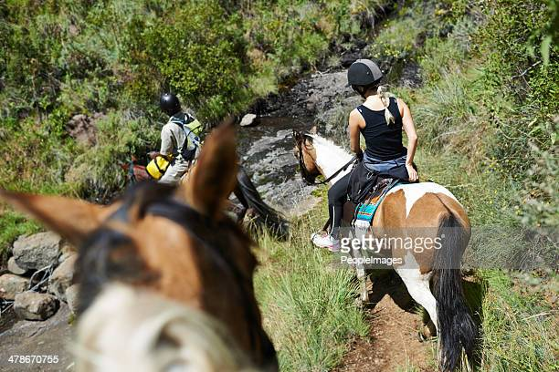 を、ガイド付き乗馬ツアー