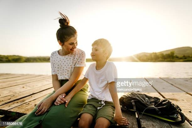 on a lake with my mom - jetty stock pictures, royalty-free photos & images
