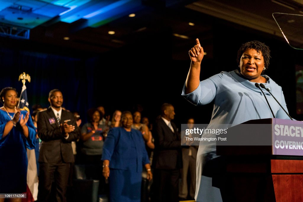 Former House Democratic Leader and Democratic nominee for Governor Stacey Abrams : News Photo