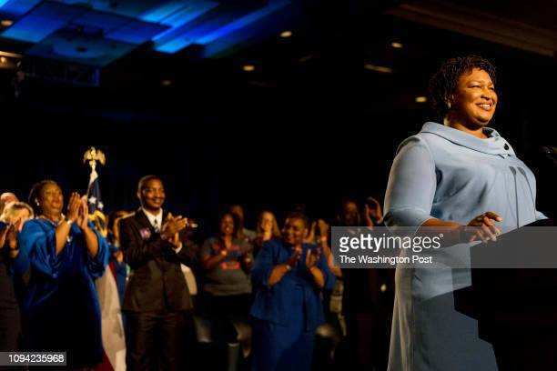 ATLANTA GEORGIA On a late election night Democratic nominee for Governor Stacey Abrams speaks to cheering supporters and announced that she'll be in...