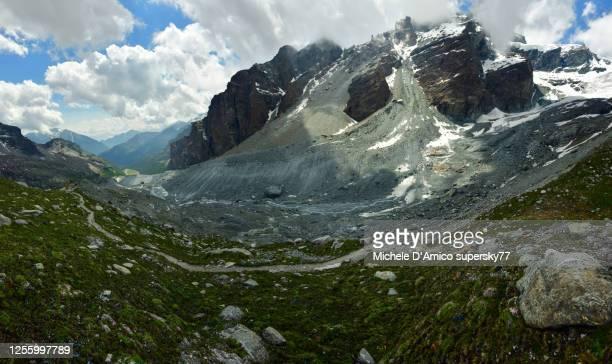 on a little ice age moraine in the alps - monte rosa foto e immagini stock