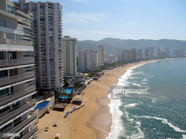 On a recent weekday the main tourist beach of Acapulco was nearly empty The resort has been wracked by drugrelated violence