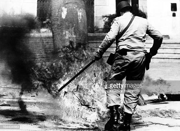 On a street in Rosario in Argentina a grenade explodes close to a military officer Following violent incidents caused by the railroad workers strike...
