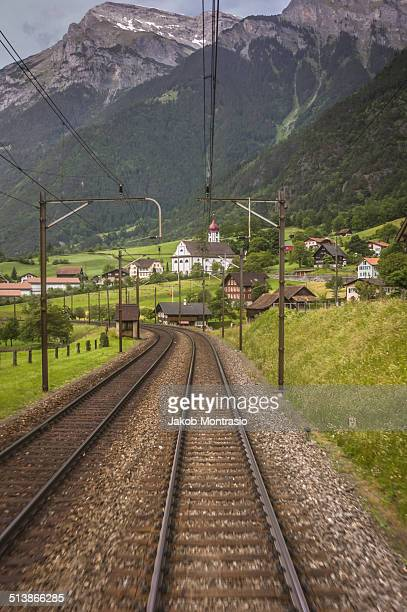 on a train through switzerland - jakob montrasio stock pictures, royalty-free photos & images