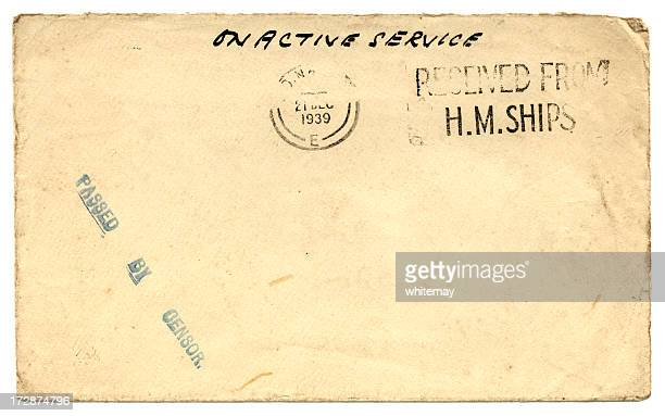 on active service - world war two envelope, 1939 - royal navy stock pictures, royalty-free photos & images