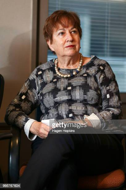 On Air Chair Ruth Harley looks on during a media conference at Radio New Zealand on July 11 2018 in Wellington New Zealand A new $6 million...