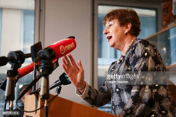On Air Chair Ruth Harley speaks during a media conference at Radio New Zealand on July 11 2018 in Wellington New Zealand A new $6 million Innovation...