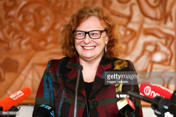 On Air Chief Executive Jane WrightsonÊspeaks during a media conference at Radio New Zealand on July 11 2018 in Wellington New Zealand A new $6...