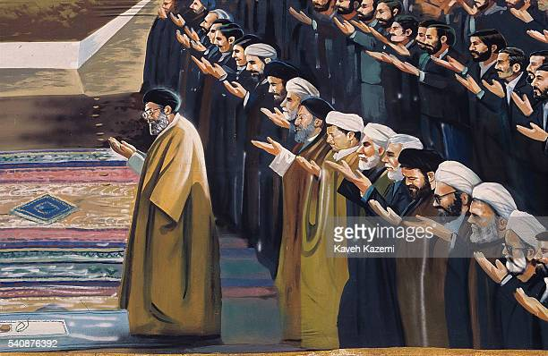 On an artwork mural the ruling class of Islamic Republic of Iran are seen praying behind the Supreme Leader Ayatollah Ali Khamenei 20th November 2002...