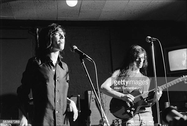 On an episode of the cable television program 'The Underground Tonight Show' American musicians Patti Smith and Lenny Kaye perform at the Cafe Wha...