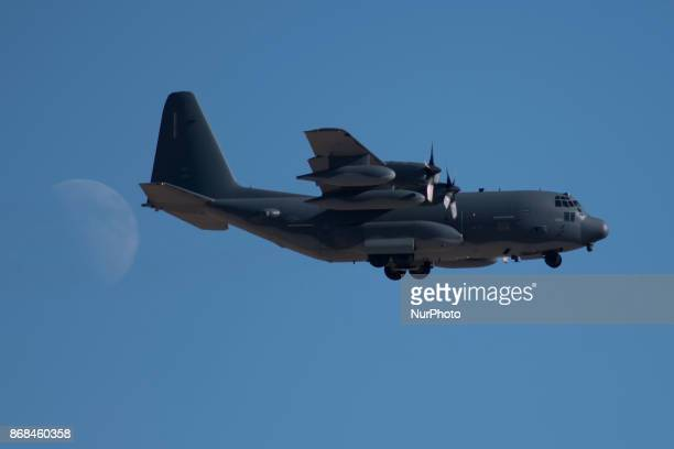C130 on approach to runway 21R at Nellis Air Force Base in Las Vegas Nevada on October 28 2017 during Green Flag airtoground military exercise in...