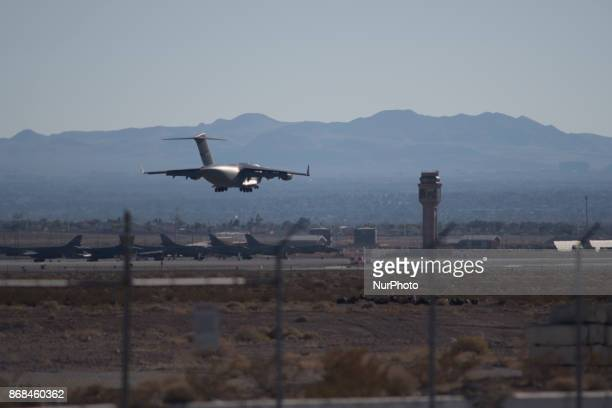 C17 on approach to runway 21R at Nellis Air Force Base in Las Vegas Nevada on October 28 2017 during Green Flag airtoground military exercise in...