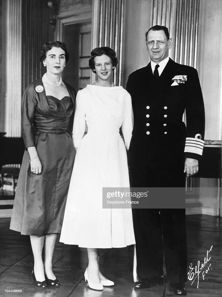 On April 1, 1955, Princess MARGRETHE of Denmark, who has just been confirmed to the Church of Fredensborg's Palace, poses between her parents, Queen INGRID and King FREDERIK IX of Denmark.