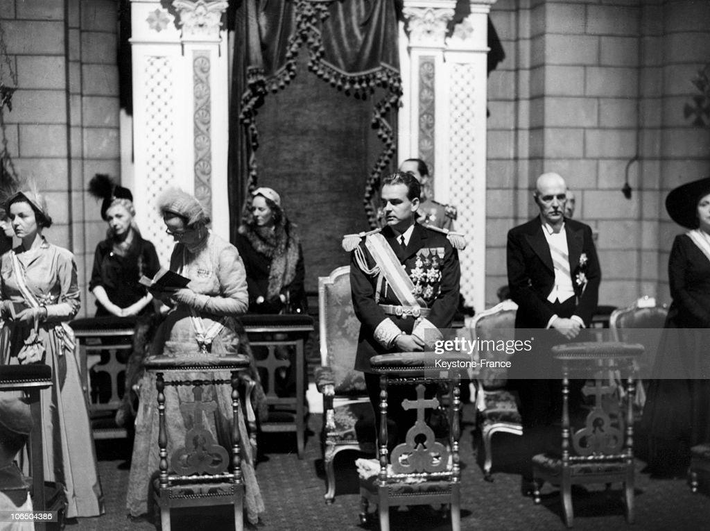 Ascend To Throne Of Rainier Of Monaco 1950 : News Photo