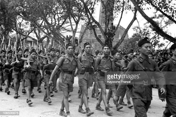 On April 1946 When The Contries Forming Indochina Were Negotiating Their Independence From France Ho ChiMinh Troops Paraded Through Hanoi