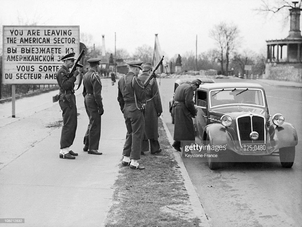 German And American Military Checks On The Soviet Border Near Potsdam 1948 : News Photo