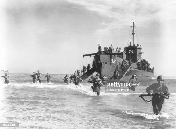On August 15 a Landing Craft Infantry brought to land American foot soldiers of the infantry's 45th division on the beach of Nartelle in the gulf of...