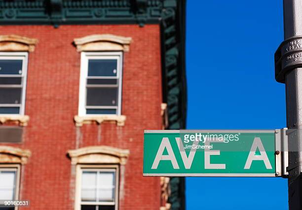 on avenue a in the lower east side of manhattan, new york - east village stock pictures, royalty-free photos & images