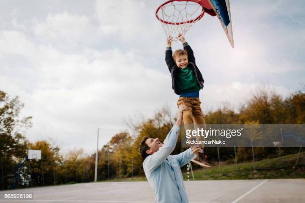On basketball court with my dad