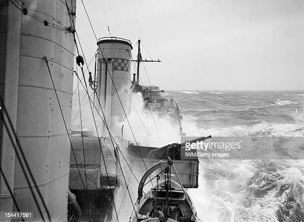 On Board A Destroyer On Escort Duty During The Battle Of The Atlantic, October 1941, A view facing aft along a Royal Navy destroyer, possibly 'B'...