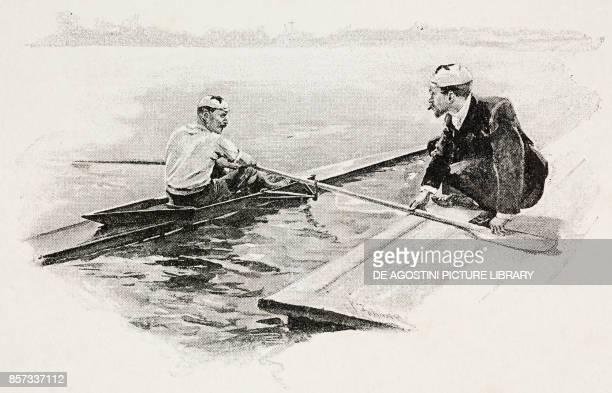 On board a single scull illustration by Werner Zehme woodcut from Moderne Kunst illustrated magazine published by Richard Bong 18911892 Year VI No 2...