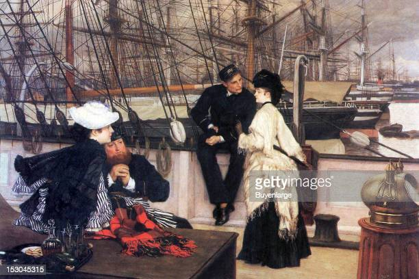 On board ship a captain speaks with a young girl romantically as does his first mate 1865 By James Tissot
