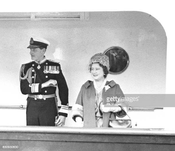 On board the Royal Yacht Britannia the Queen Mother pictured shortly before the vessel moved out from Portsmouth Harbour en route to Tunisia