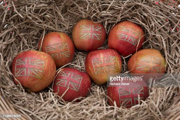 On Brexit Day, the date that the UK leaves the European Union, Red Princes apples are seen in detail in a basket, displayed by 'British Apples &...