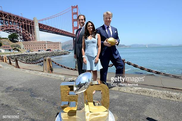 NFL on CBS PICTURED left Jim Nantz lead playbyplay announcer Tracy Wolfson lead reporter and Phil Simms lead analyst NFL Super Bowl 50 CBS Promotin...
