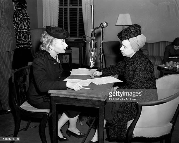 On CBS Radio from left, Carmel Snow of Harpers Bazaar magazine and fashion designer Elsa Schiaparelli. New York, NY. Image dated December 7, 1939.