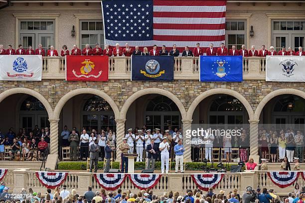 On center stage from left Jacksonville Mayor Alvin Brown PGA TOUR Commissioner Tim Finchem Sergeant Major Bryan Battaglia Steve Sands of NBC Golf...
