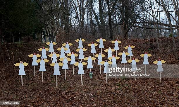 On Churchill Rd in Newtown CT 27 Angels representing the 27 victims of the Sandy Hook Elementary School shooting