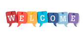 WELCOME on colourful speech bubbles
