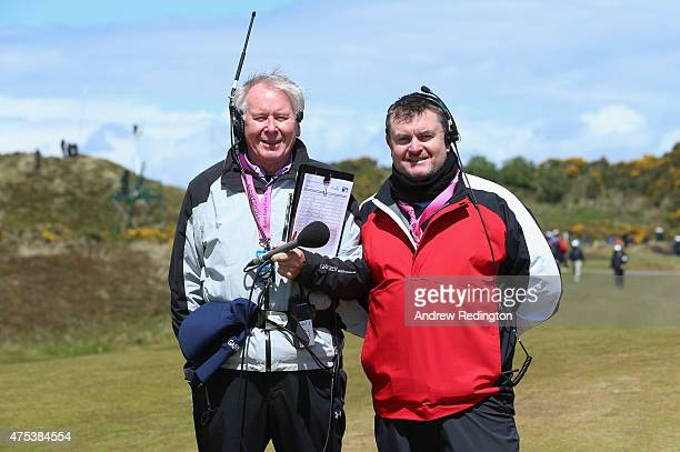 On Course Commentators Ron Jones and Raymond Burns look onduring the Final Round of the Dubai Duty Free Irish Open Hosted by the Rory Foundation at...
