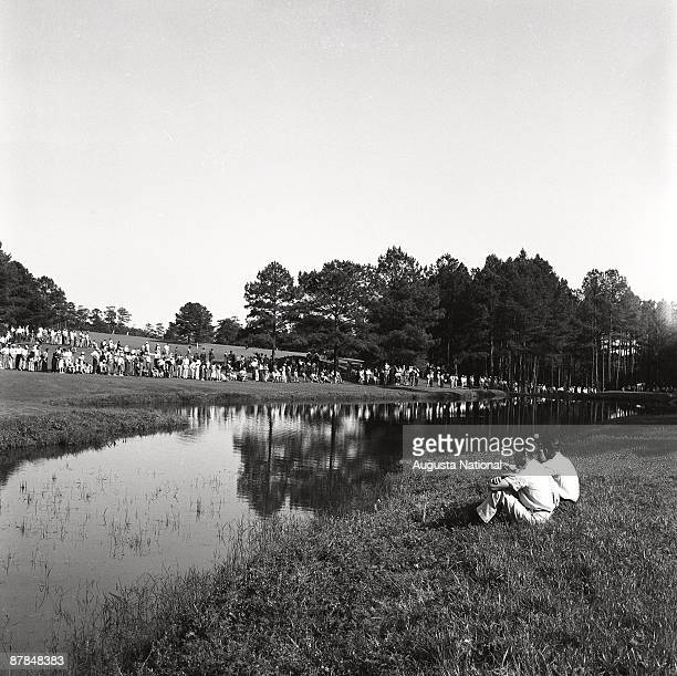 On course view across the water hazard on the 16th hole during the 1953 Masters Tournament at Augusta National Golf Club on April 1953 in Augusta...