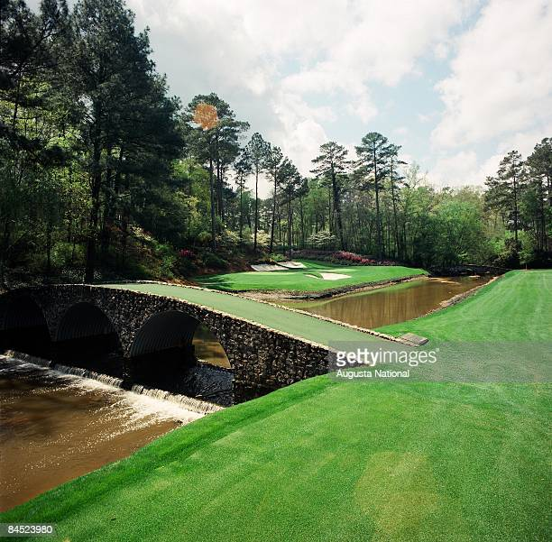 On course view of the 12th hole looking across Rae's Creek with the Ben Hogan Bridge in the foreground at the Augusta National Golf Club in Augusta...