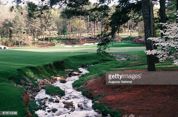 On course view of the path of Rae's Creek down the 12th and 13th holes during the 1989 Masters Tournament at Augusta National Golf Club in April 1989...