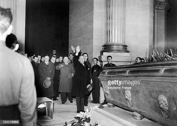 On December 15 The General Delegate Of Vichy In Paris Fernand De Brinon Performs The Nazi Salute Before The Catafalque Of Napoleon Ii Son Of Napoleon...