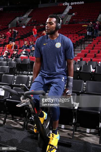 Paul Millsap of the Denver Nuggets warms up before the game against the Portland Trail Blazers on December 22 2017 at the Moda Center Arena in...