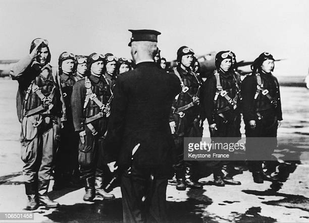 On December 7Th 1941 Japanese Pilots Receiving Last Orders Before Bombing The American Military Base Of Pearl Harbor