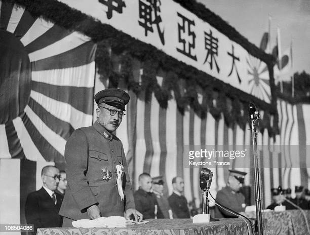 On December 8Th 1942, General Hideki Tojo, Prime Minister Of The Japanese Empire, Gives A Speech For The First Anniversary Of The Beginning Of The...