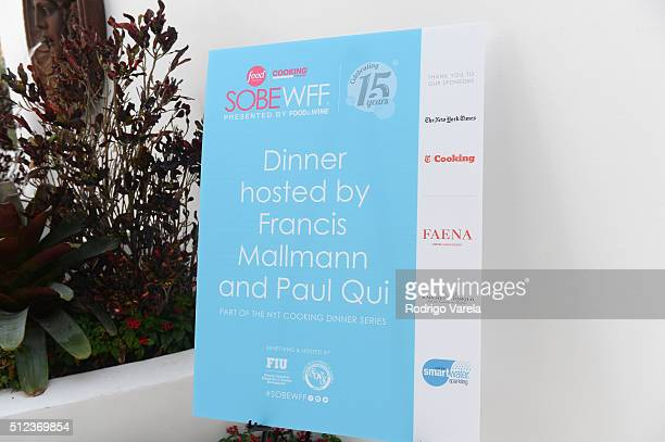 FIU on display at a Dinner Hosted By Francis Mallmann And Paul Qui during 2016 Food Network Cooking Channel South Beach Wine Food Festival Presented...