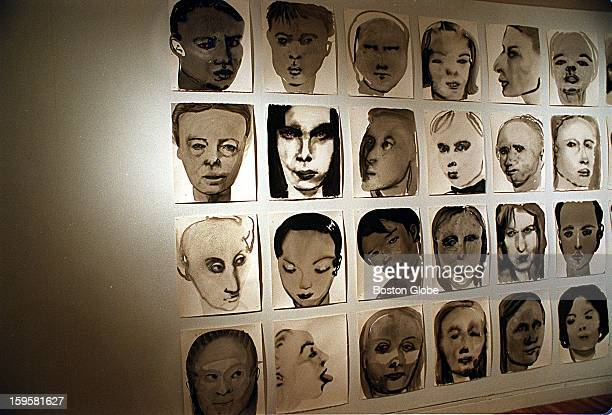 """On display at the Institute Of Contemporary Art, """"One Hundred Models"""" by Marlene Dumas, 1994."""