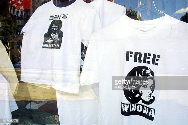 On display in a Los Angeles store window is a Free Winona teeshirt and a John Walker Lindh Holiday in Afghanistan teeshirt 29 January 2002 Winona...